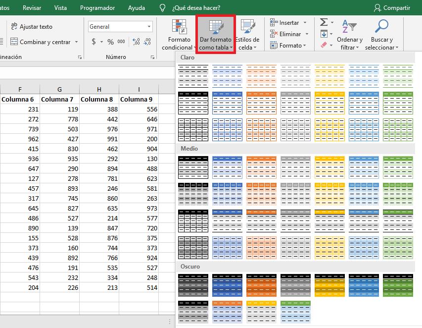Crear tabla para resaltar filas alternas
