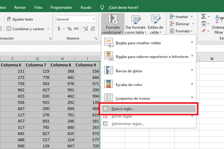 Resaltar filas alternas en Excel