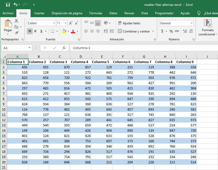 Cómo resaltar filas alternas en Excel