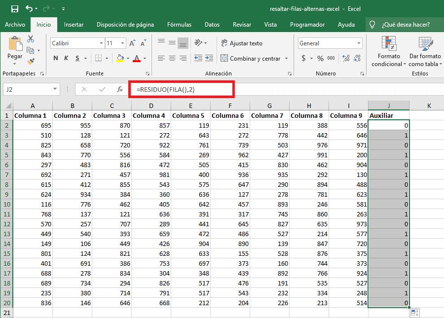 Cómo sombrear filas alternas en Excel