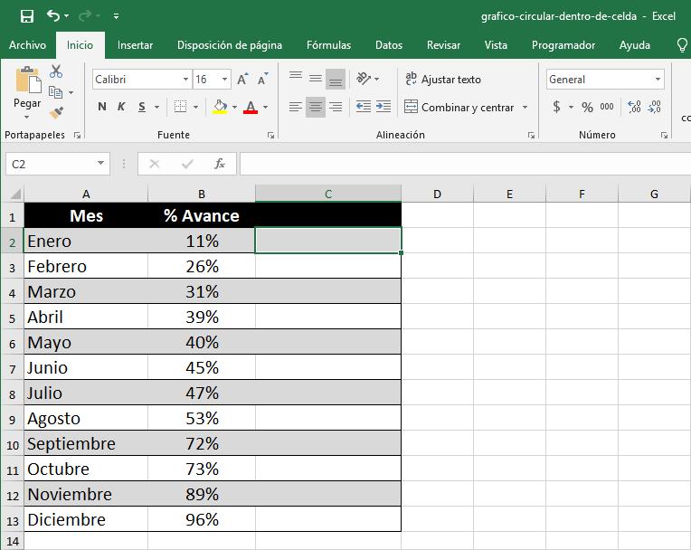Cómo crear un mini gráfico circular en Excel
