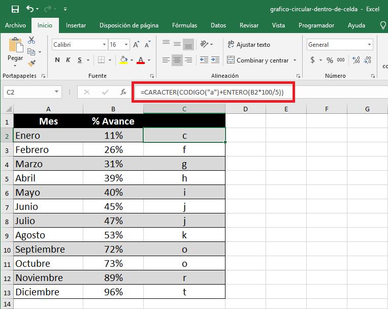 Fórmula para crear un mini gráfico circular en Excel