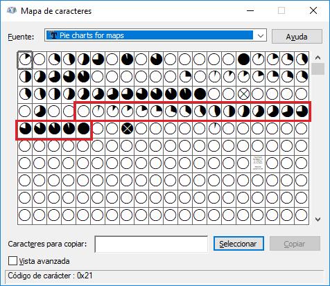 Mapa de caracteres de la fuente Pie charts for maps