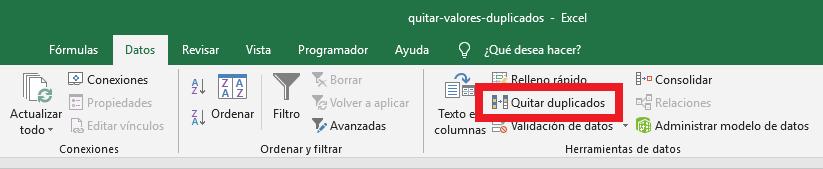 Comando Quitar duplicados en Excel