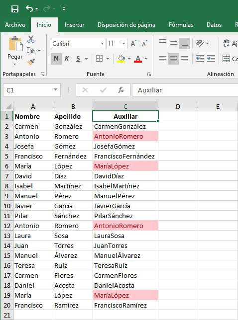 Formato condicional valores duplicados