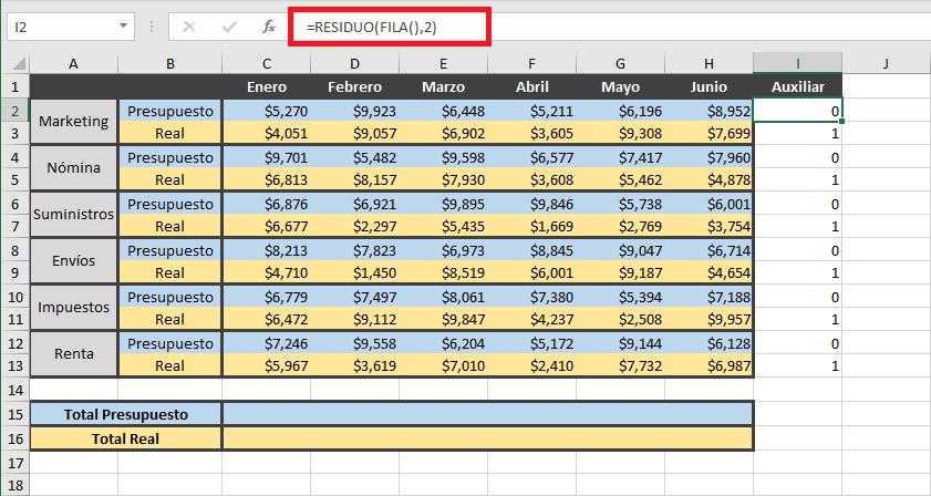 Sumar filas alternas en Excel
