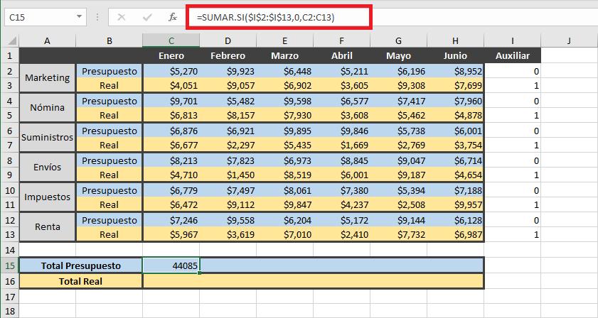 Cómo sumar filas alternas en Excel