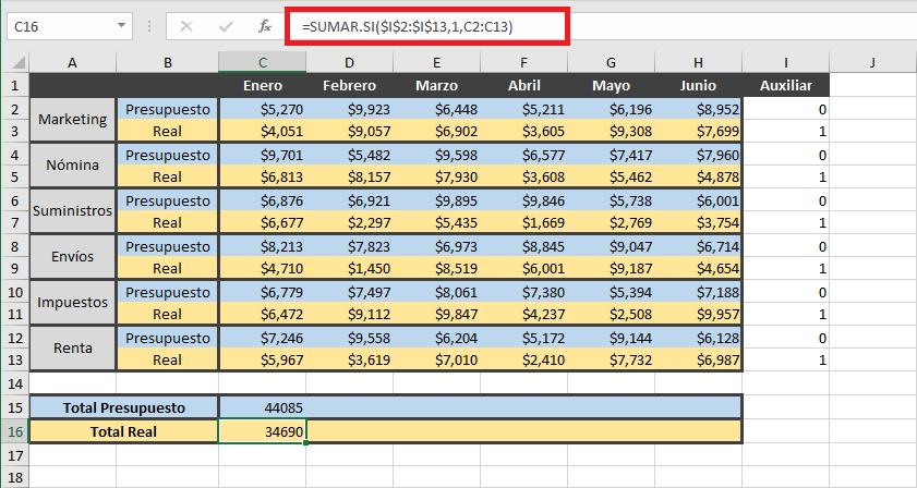 Sumar filas con condiciones en Excel