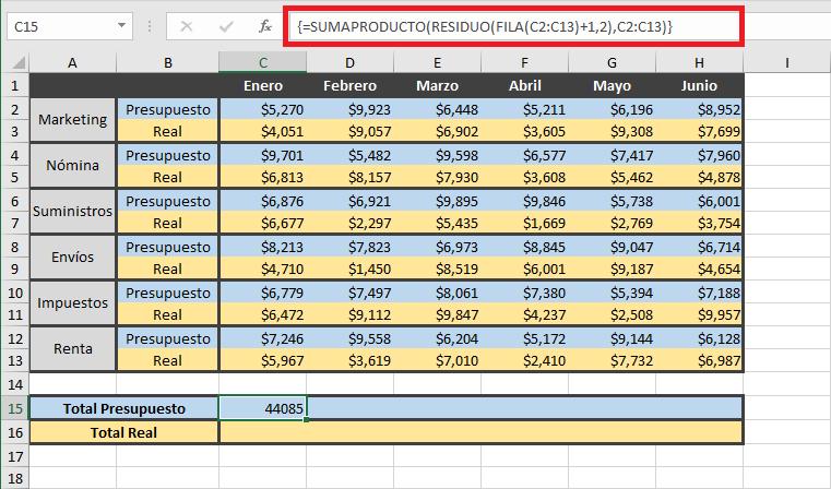 Fórmulas matricial para sumar filas con condiciones en Excel