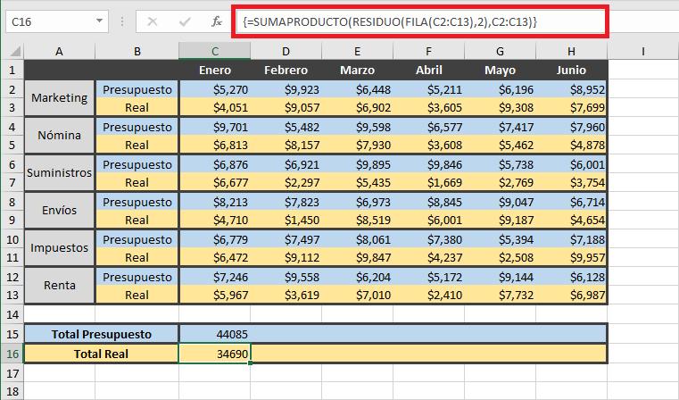 Fórmula matricial para sumar filas alternas
