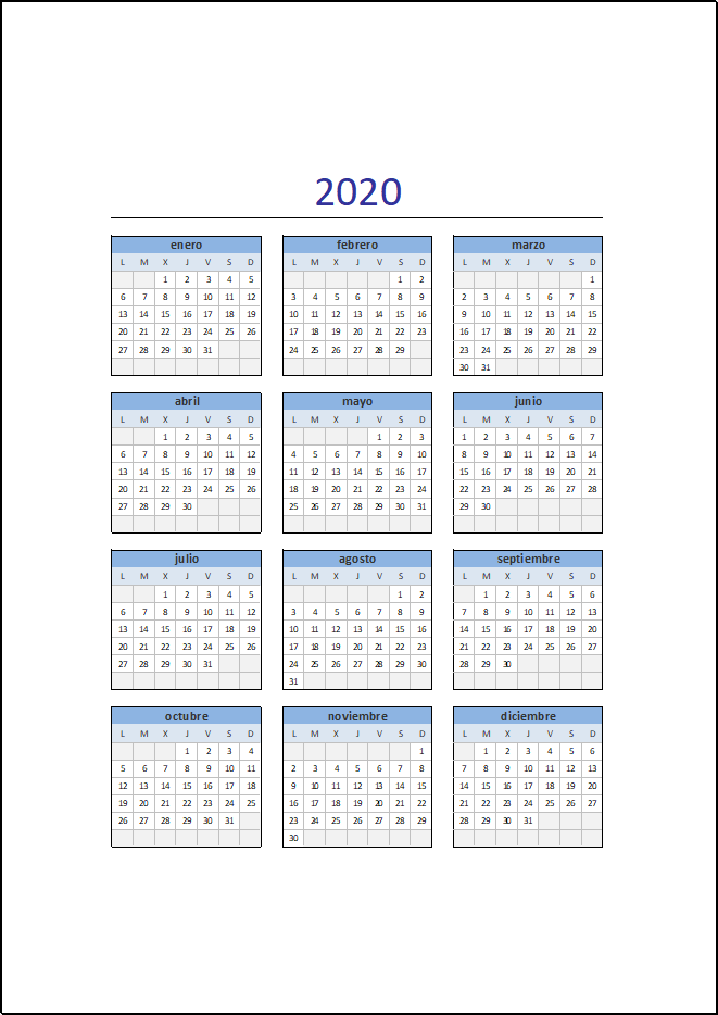 Calendario 2020 Completo