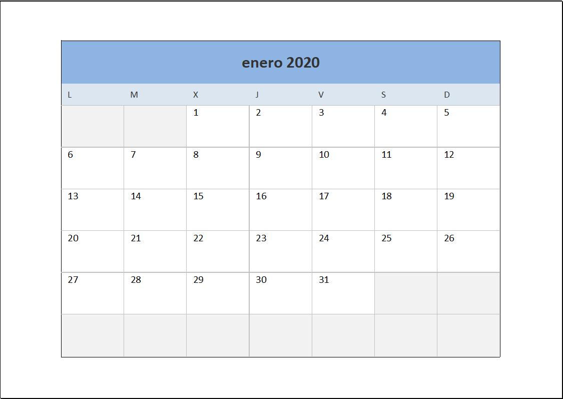 Calendario 2020 Mensual