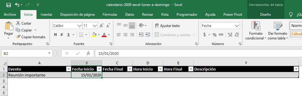 Crear un evento en el Calendario 2020 en Excel
