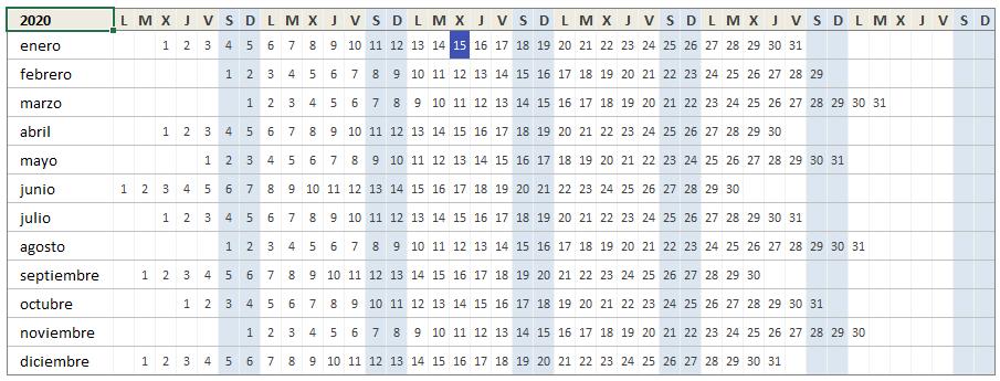 Calendario Excel 2020 listo para imprimir