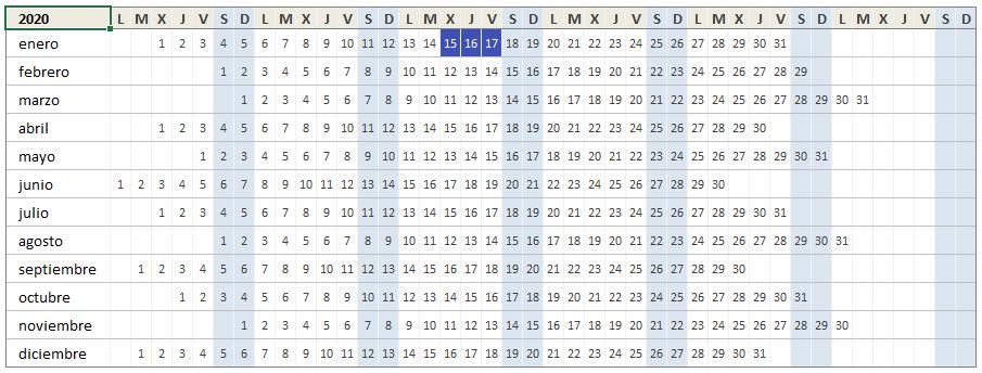 Plantilla de calendario 2020 en Excel
