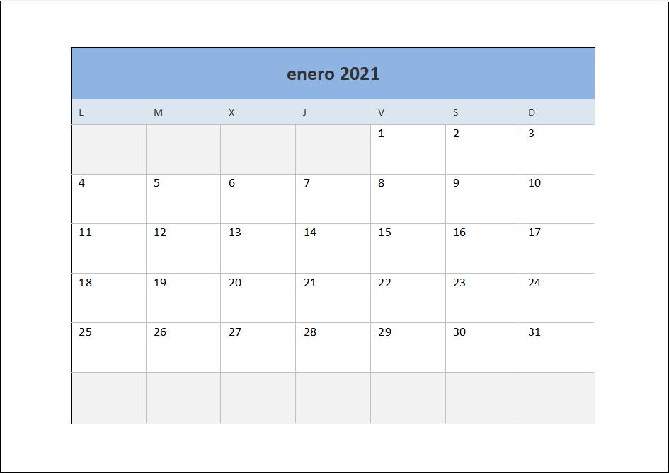 Calendario 2021 mensual en Excel