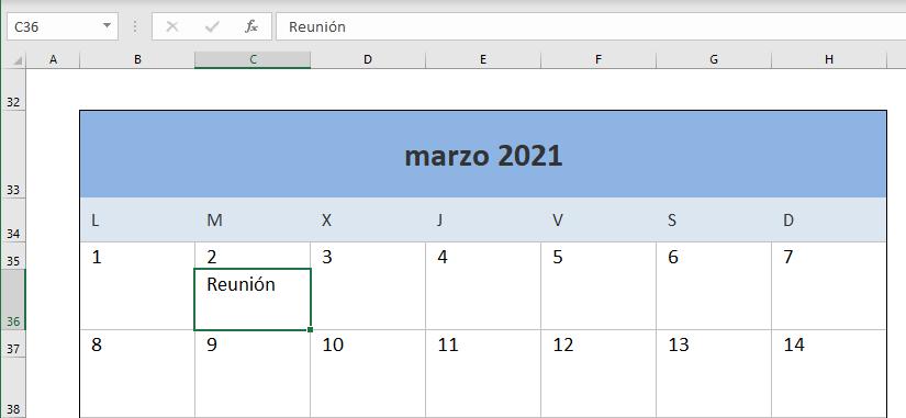 Descargar calendario Excel 2021