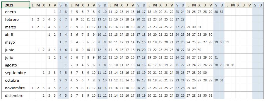 Mini Calendario 2021 en Excel
