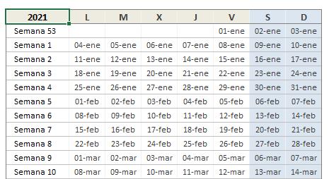 Calendario semanal 2021 en Excel