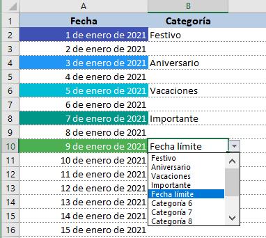 Plantilla de Calendario 2021 en Excel