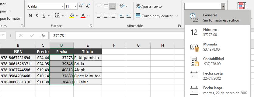 Aplicar formato General a fechas para conocer su valor