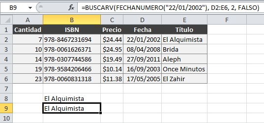Función FECHANUMERO para obtener valor numérico de la fecha