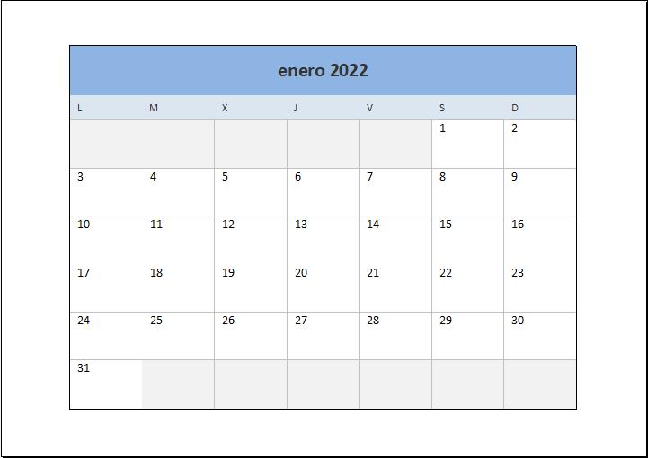 Calendario 2022 Excel