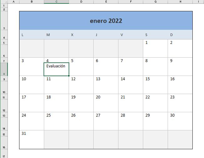 Calendario 2022 en formato Excel