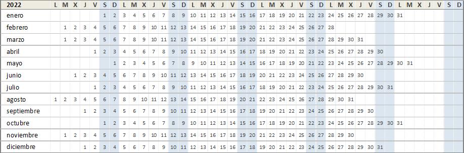 Calendario año 2022 para Excel
