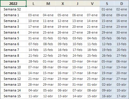 Calendario semanal 2022 en Excel