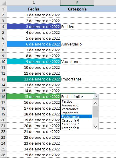 Calendario 2022 para imprimir en Excel