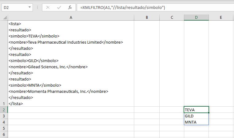 Ejemplo de la función XMLFILTRO como una fórmula matricial