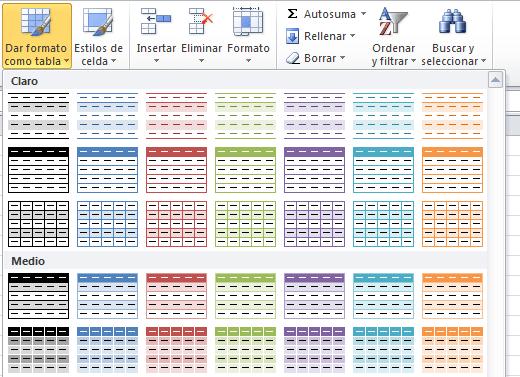 Aplicar estilos a una tabla de Excel
