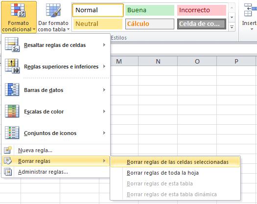 Borrar reglas de formato condicional - Excel Total