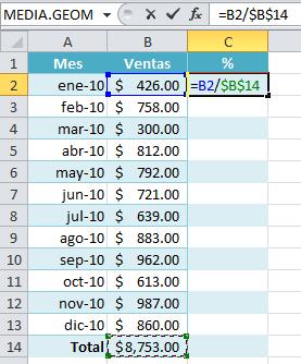 Cálculo de porcentaje en Excel