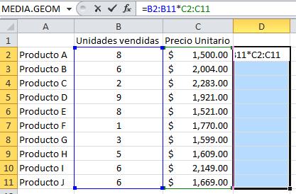 Creando la fórmula de matriz