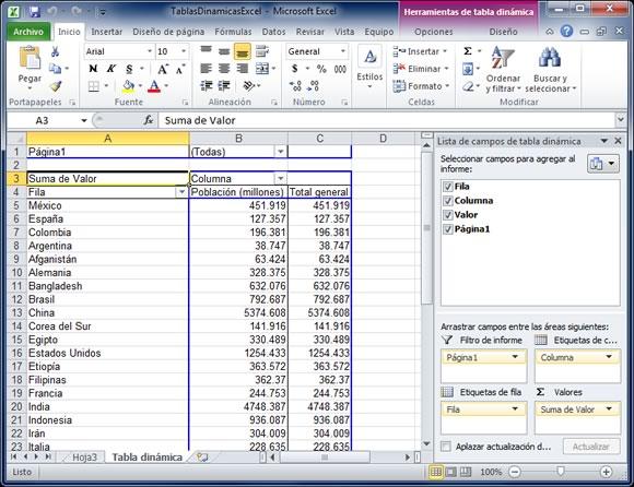 Tabla dinámica en Excel 2010