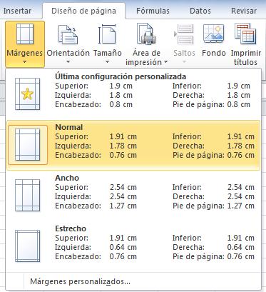Márgenes de impresión en Excel