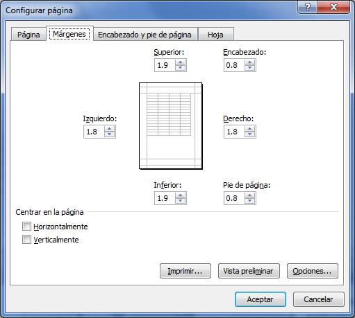 Configurar márgenes de página