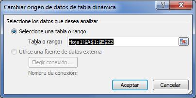Cambiar origen de datos de tabla dinámica