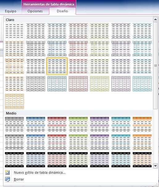 Estilo de tabla dinámica