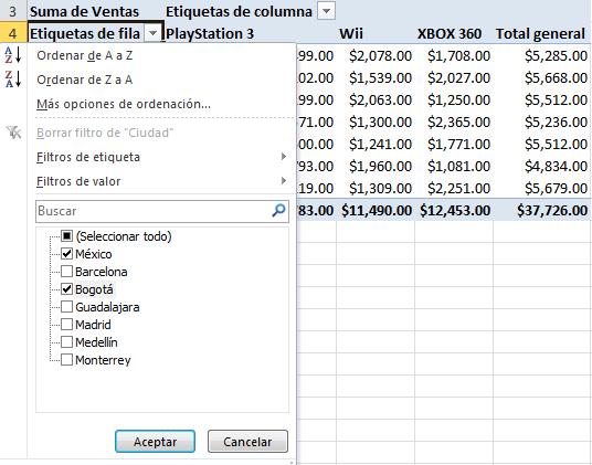Filtrar Una Tabla Dinámica Excel Total