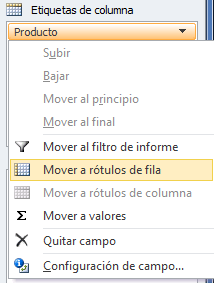 Mover campo de tabla dinámica