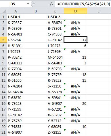 Utilizar la función COINCIDIR para comparar las listas