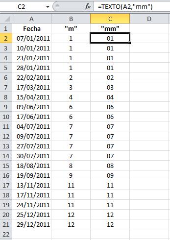Mes de una fecha con dos dígitos