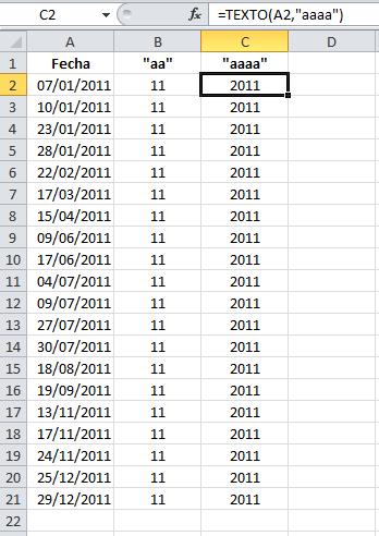 Formato para información del año