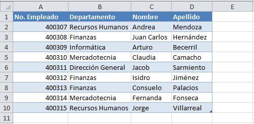 Tabla de datos para filtro avanzado