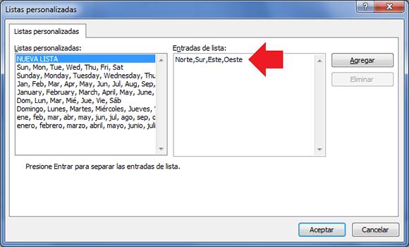 Cuadro de diálogo Listar personalizadas
