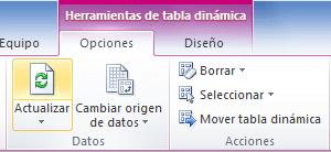 Botón actualizar para una tabla dinámica