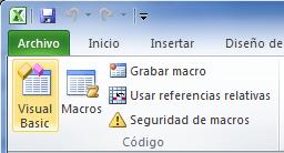 Botón Visual Basic para abrir el editor de código